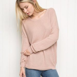"Brandy Melville Blush Pink ""Ollie"" Knit Sweater OS"